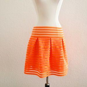 Ceres Neon Orange Stripe Skirt Size M